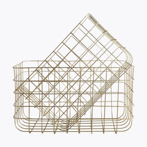 Set de dos cestas Simply – metal dorado – House Doctor – Almacenaje – Liderlamp (2)