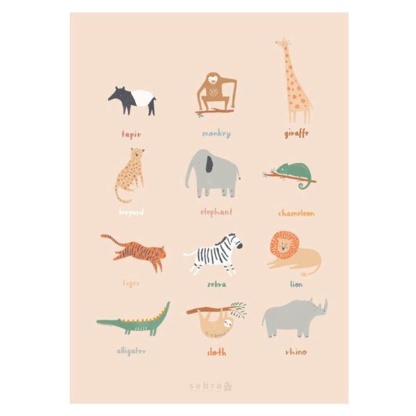 Lamina Wildlife – Sebra – animales – ilustracion – habitacion ninos – Liderlamp (1)