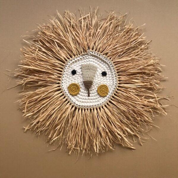 Leon - mostaza - deco ninos - Artesanal - Ila y Ela - crochet - Liderlamp