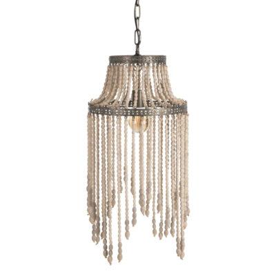 Colgante Labra - cuentas madera - metal envejecido - clasico - Ixia - Liderlamp (1)