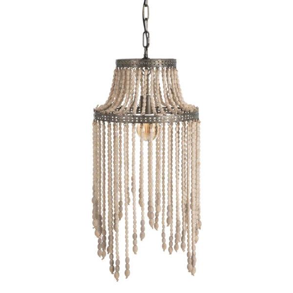 Colgante Labra – cuentas madera – metal envejecido – clasico – Ixia – Liderlamp (1)