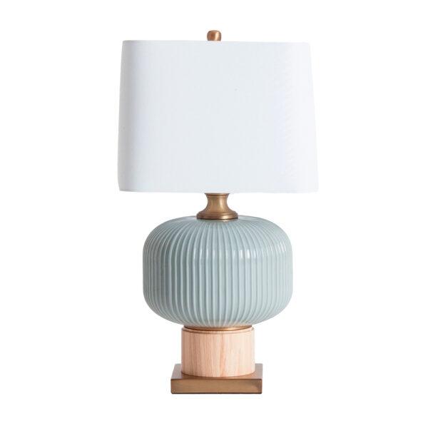Sobremesa Itamar – vidrio gris – pantalla lino – vintage – Vical Home – Liderlamp (1)