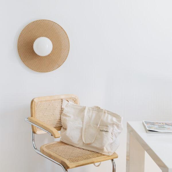 Aplique Idoia – Circulo de rejilla de ratan – natural – Plafon – Liderlamp (1)