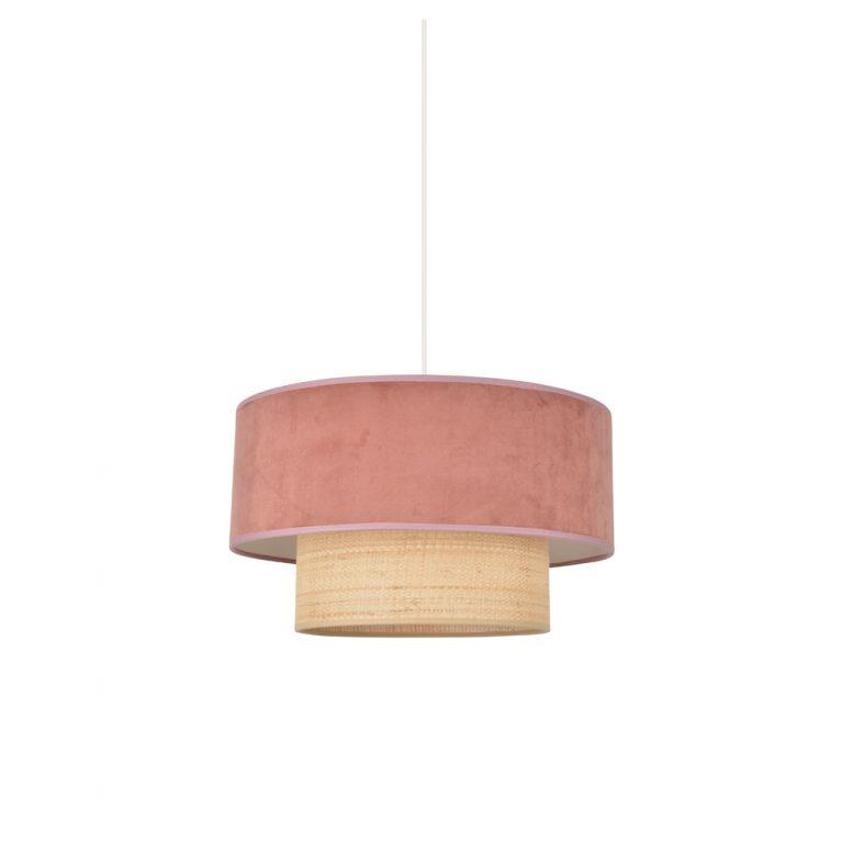 Colgante Boheme - Rosa - rafia y terciopelo - Market set - Liderlamp (1)