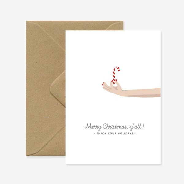 Felicitacion Navidad – Baston de caramelo – ilustracion – All the ways to say – Liderlamp