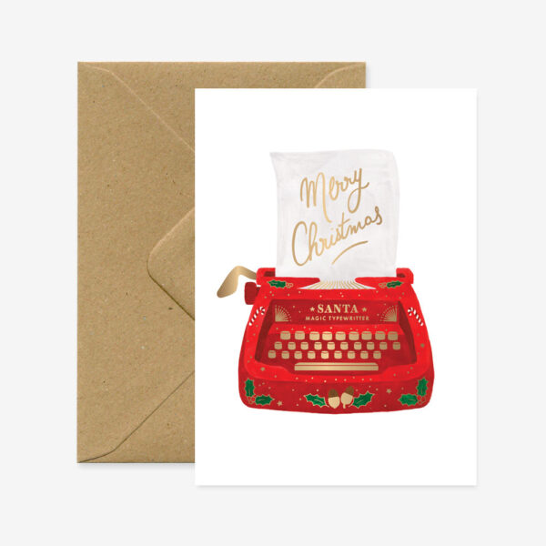 Felicitacion Navidad – Máquina de escribir – ilustracion – All the ways to say – Liderlamp