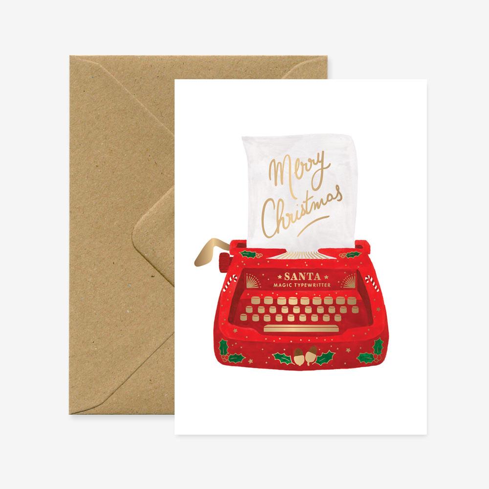 Felicitacion Navidad - Máquina de escribir - ilustracion - All the ways to say - Liderlamp