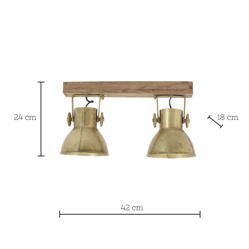 Plafon Elay - 2 luces - oro viejo - Madera y metal - aplique - Liderlamp (1)