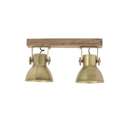 Plafon Elay - 2 luces - oro viejo - Madera y metal - aplique - Liderlamp (3)
