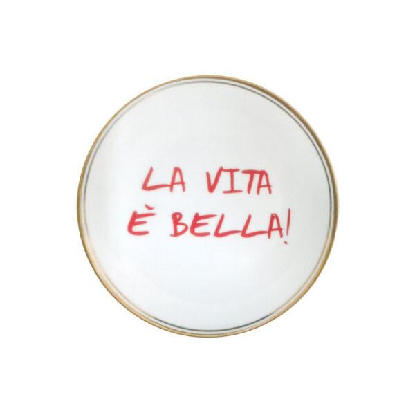 Plato de porcelana La Vita es Bella – menaje – Bitossi Home – mesas bonitas – Liderlamp