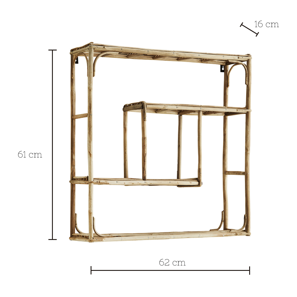 Estante de bambu Nette - Madam Stoltz - color natural - almacenaje pared - Liderlamp (1)