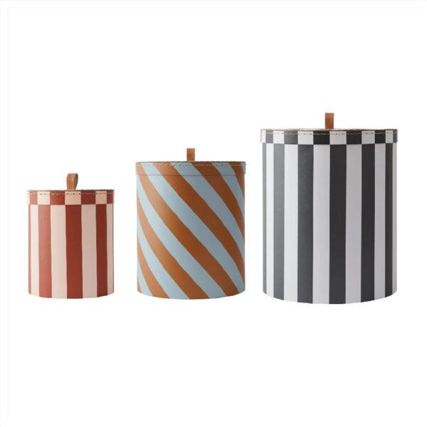 Juego de cajas redondas – rayas – Oyoy – pequeno almacenaje – Liderlamp