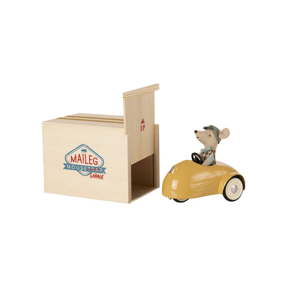 Raton con Coche Vintage y Garaje - Amarillo - juguetes tradicionales - madera - Liderlamp (1)