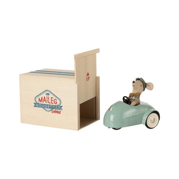 Raton con Coche Vintage y Garaje - Azul - juguetes tradicionales - madera - Liderlamp (4)