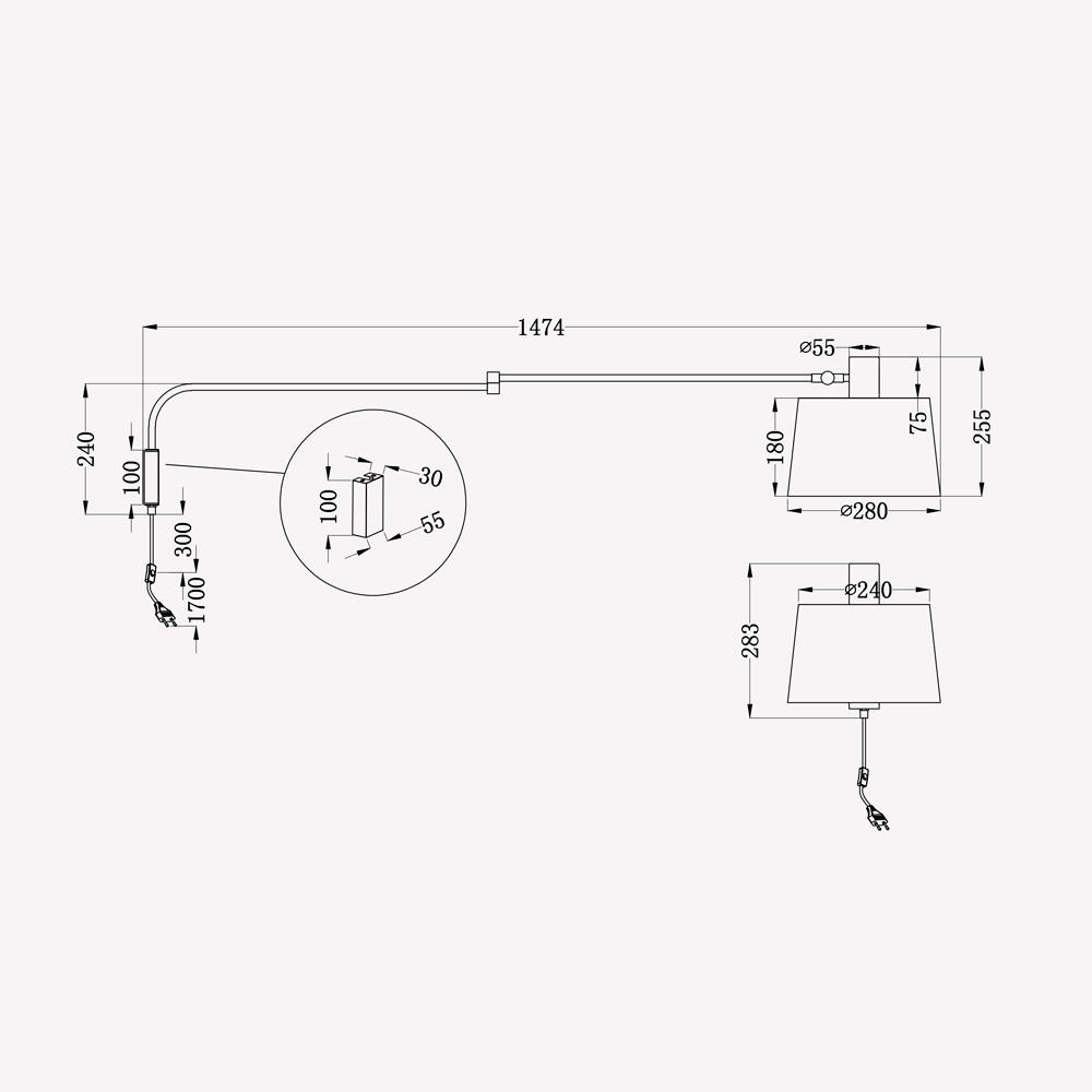 Aplique Nime Negro - Trio Iluminacion - brazo articulado - metal - Liderlamp (4)