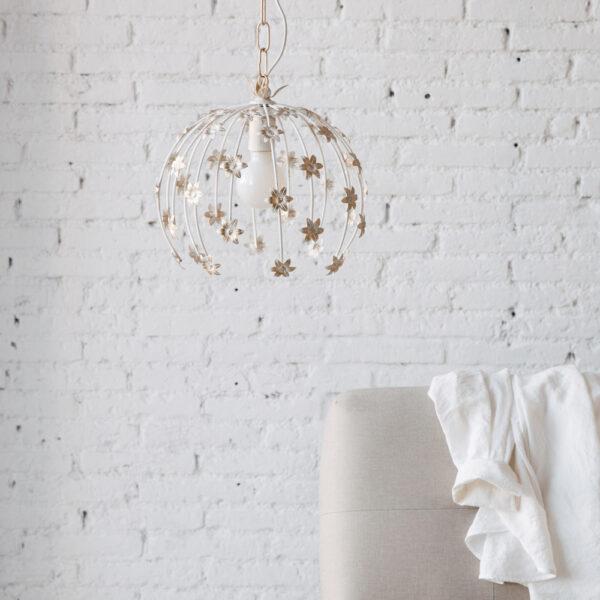 Colgante Ninfa - metal - diseno floral - blanco patina dorada - Liderlamp (1)