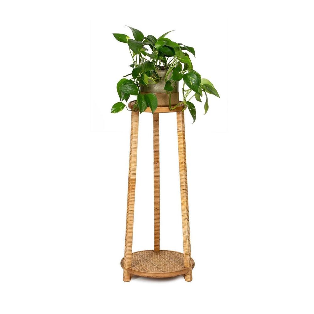 Peana para plantas Cally - Andrea House - Madera y ratan - Liderlamp (2)