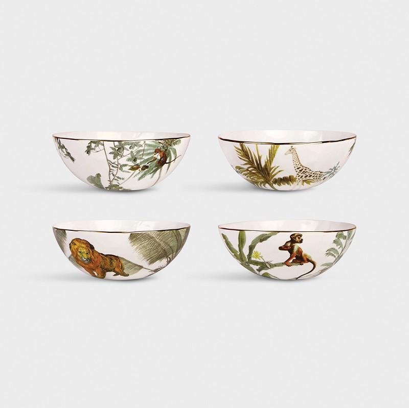 Set 4 Boles Jungle - HK Living - animales- regalo deco - porcelana - selva - Liderlamp (1)