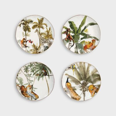 Set 4 Platos Jungle - HK Living - animales- regalo deco - porcelana - selva - Liderlamp (1)