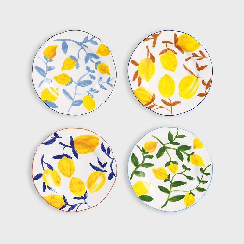 Set 4 Platos Limones - HK Living - menaje - regalo deco - gres - vintage (1)