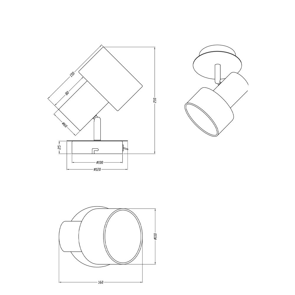 Foco Wailer - 1 luz - negro y beige - textil - Trio Iluminacion - Liderlamp (2)