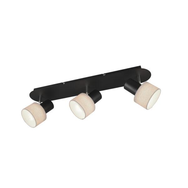 Focos Wailer - 3 luces - negro y beige - pantalla textil - Trio Iluminacion - Liderlamp (1)
