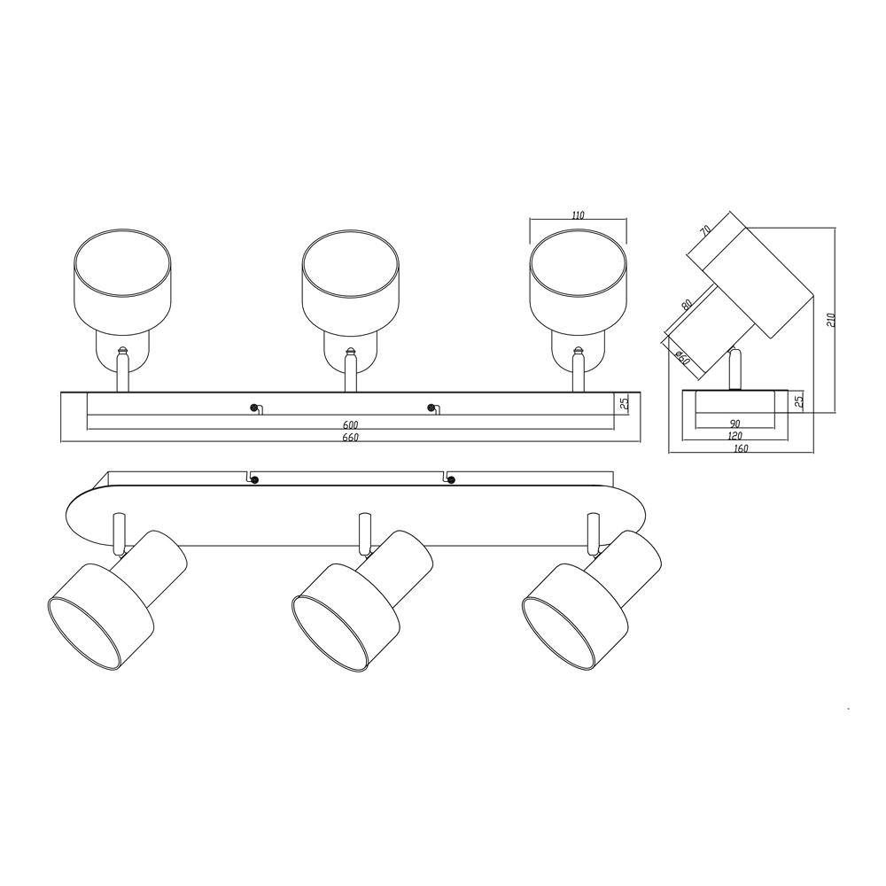 Focos Wailer - 3 luces - negro y beige - pantalla textil - Trio Iluminacion - Liderlamp (2)