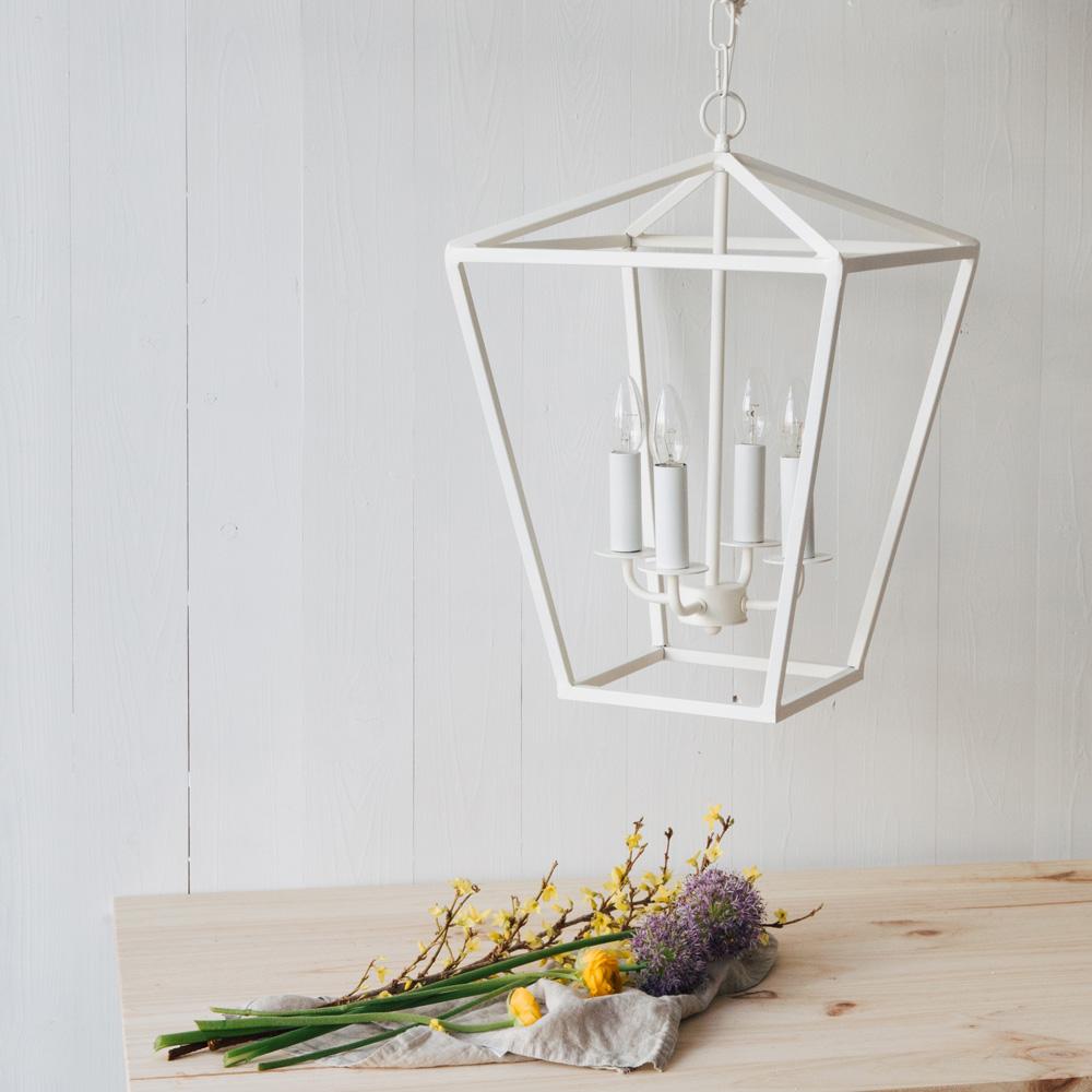 Colgante Utha - farol - color blanco - metal - Lampara techo - Liderlamp