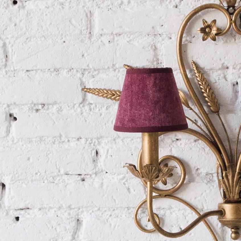 Pantalla Terciopelo Brienne - lampara imperio estilo clasico - berenjena - Liderlamp (2)
