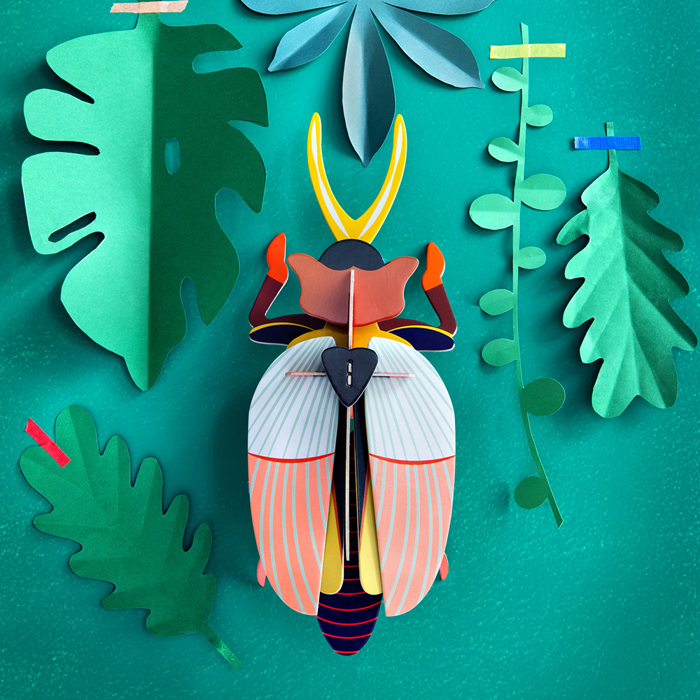 Rhinoceros Beetle - 3D - Studio Roof - decoracion mural - cartoin reciclado - Liderlamp (2)