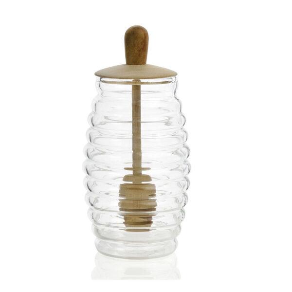 Tarro de miel con cuchara - Andrea House - cristal y madera - desayuno - Liderlamp (1)