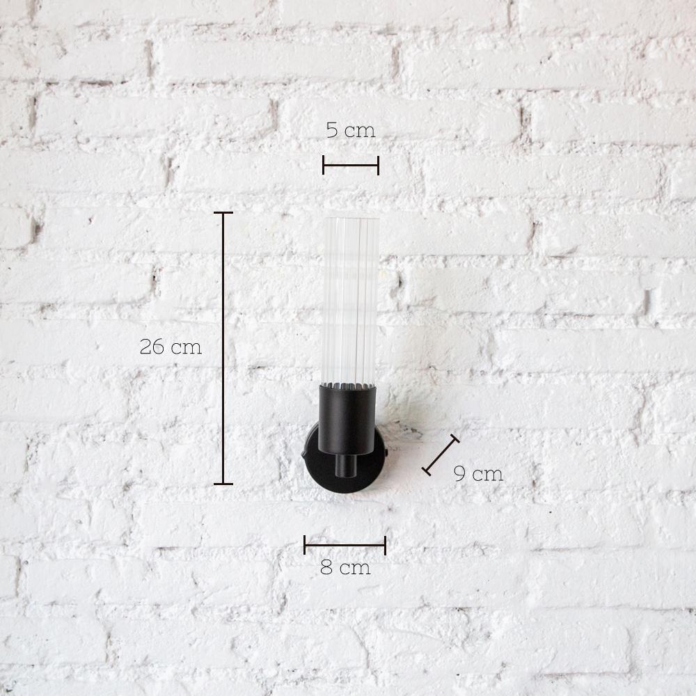 Aplique Lais - Negro - New Mid Century - metal y cristal - iluminacion pared - Liderlamp (1)