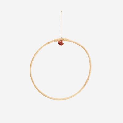 Aro Colgador Bambu - Madam Stoltz - natural - borla hilo - corona vegetal - Liderlamp (2)