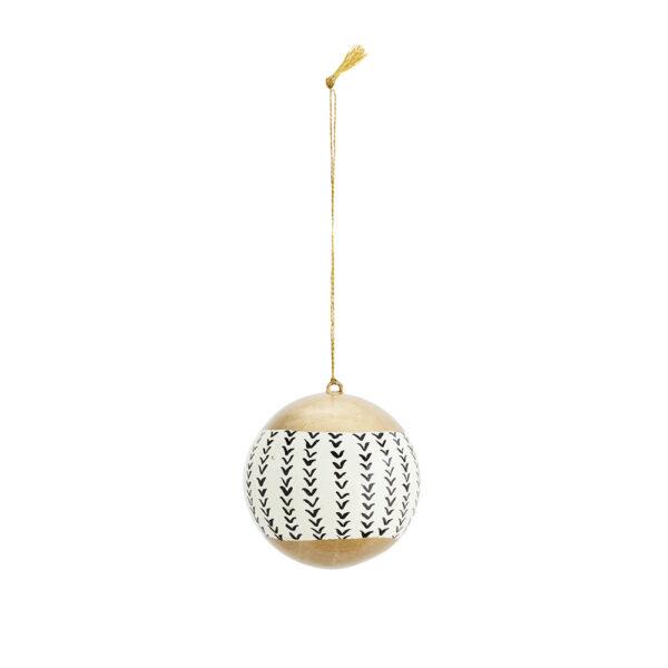 Colgante Bola Papel Mache - Blanco y dorado - Madam Stoltz - adorno - Liderlamp (1)
