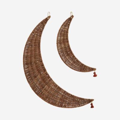 Colgantes Lunas Ratan - Madam Stoltz - natural - adorno boho - Liderlamp (1)