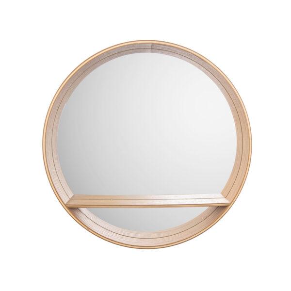 Espejo Sheer - madera de pino - redondo - estante - color natural - Liderlamp (2)