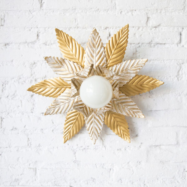 Plafon Luminosa Doble - Decapado - Mid Century - Vegetal - Flor - Liderlamp