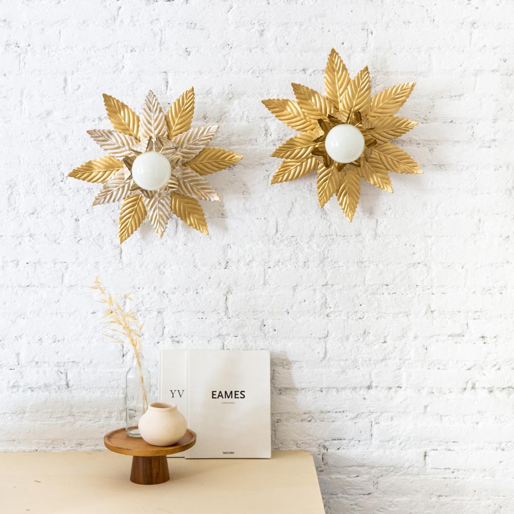 Plafon Luminosa Doble - Dorado - Mid Century - Vegetal - Flor - Liderlamp (1)