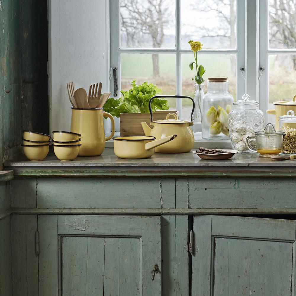 Cazo de Peltre - Amarillo - decoracion cocina - estilo retro - Liderlamp (2)