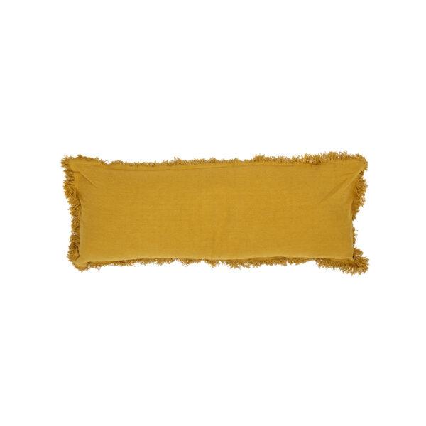Cojin Ellie- 90x35 - extralargo - algodon en color mostaza - flecos - Liderlamp (1)