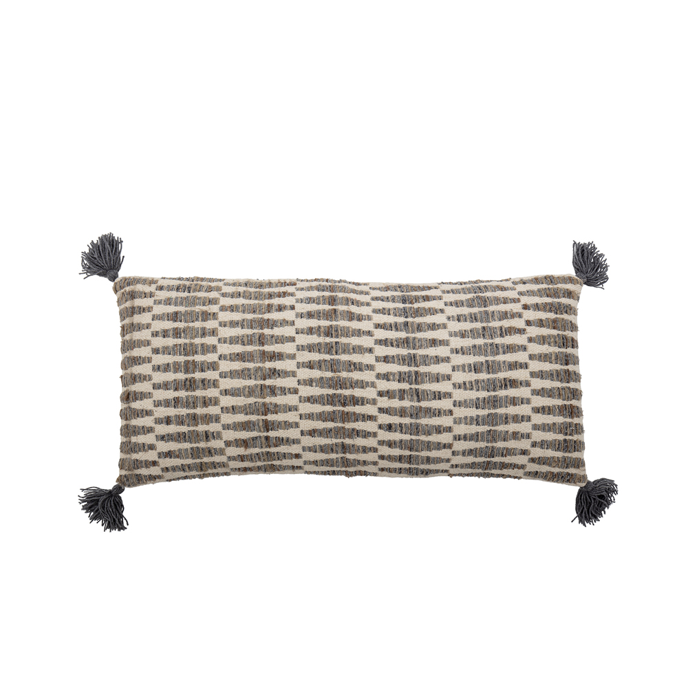 Cojin Matea - 90x40 - extralargo - borlas - estampado geometrico gris - Liderlamp (1)