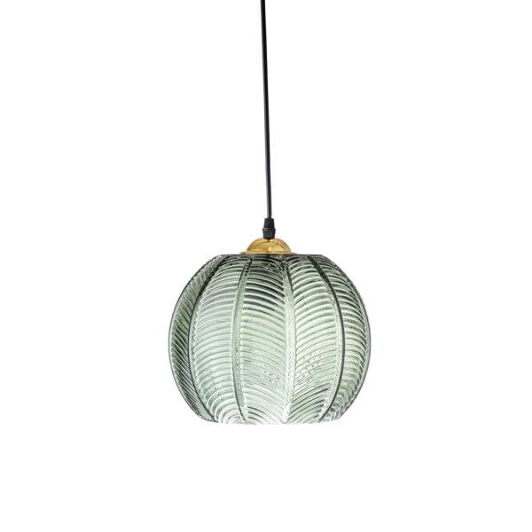 Colgante Bachia - Decoracion botanica - Cristal estriado - Verde - Liderlamp (2)