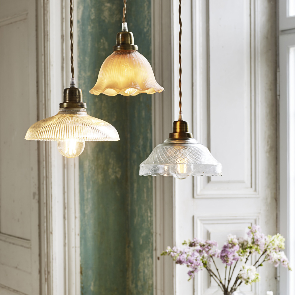 Colgante Cille - Transparente - vintage - estilo retro - cristal y laton - Liderlamp (1)