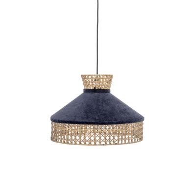 Colgante Everblue - Terciopelo y ratan - azul petroleo - lampara techo - Liderlamp (1)