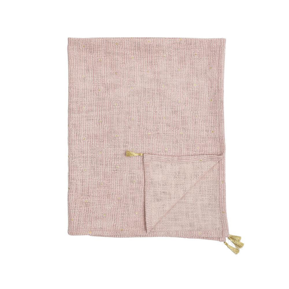 Plaid Babette - algodon - topos dorados - manta sofa - rosa y dorado - Liderlamp (1)