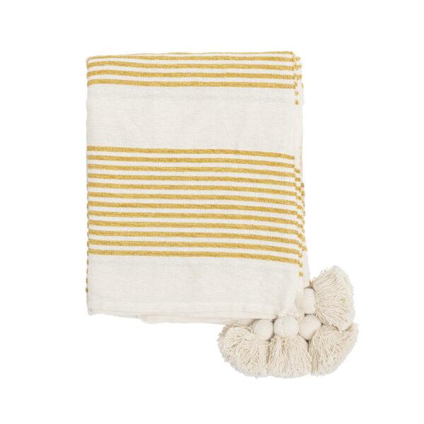 Plaid Dominica - algodon - rayas amarillas- textil dormitorio - borlas hilo - Liderlamp (1)