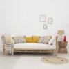 Plaid Vella - algodon reciclado - rayas - textil dormitorio - mostaza - Liderlamp (2)