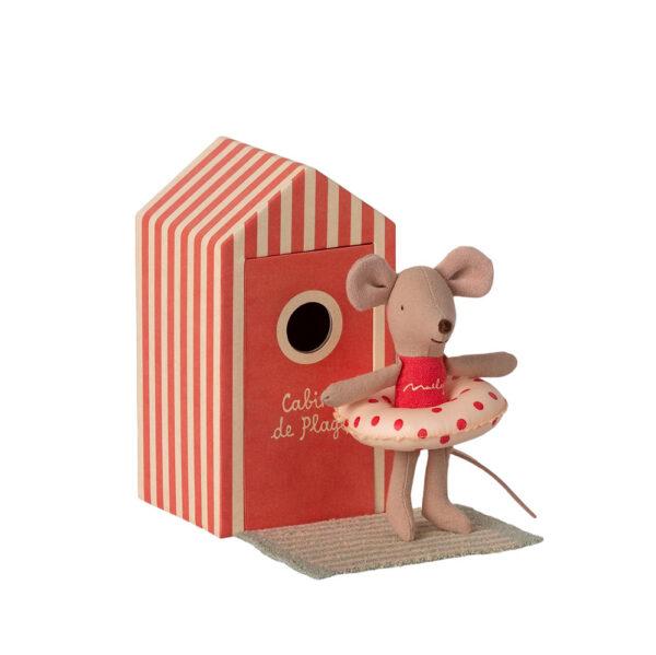 Caseta de Playa Roja + Raton Little Sister - Maileg - regalo ninos - Liderlamp (3)