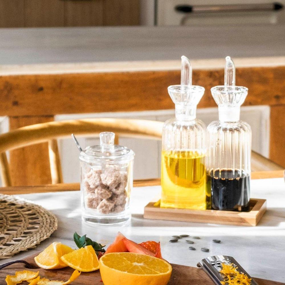 Set Aceitera y Vinagrera - vidrio transparente - decoracion cocina - menaje - Liderlamp (1)