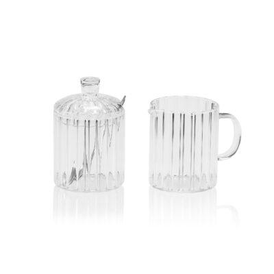 Set Azucarero y Lechera - vidrio transparente - juego de cafe - menaje - Liderlamp (1)